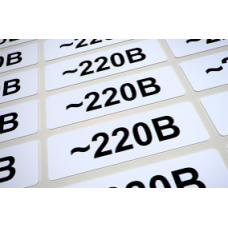 Наклейки для маркировки розеток «~220V» из полиестра, лист 100шт.