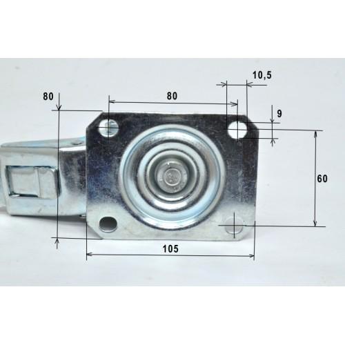 изображение 2 Колесо для напольного шкафа на площадке со стопором (d80) до 150кг.