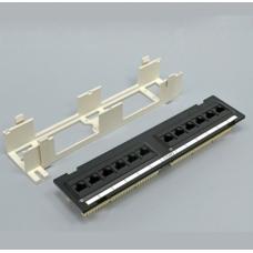 Патч-Панель настенная 12xRJ45 UTP, категория 6, dual type, в пластиковом корпусе, чёрная, EPNew