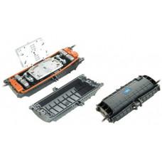 Муфта прохідного типу, 6 мех. кабельних вводів, 2 сплайс-касети, 24 сплайс-протектори