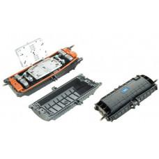 Муфта прохідного типу, 6 мех. кабельних вводів, 4 сплайс-касети, 48 сплайс-протектори