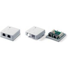 Розетка 2 порта экранированная RJ45 STP белая cat.5e MB-STP2