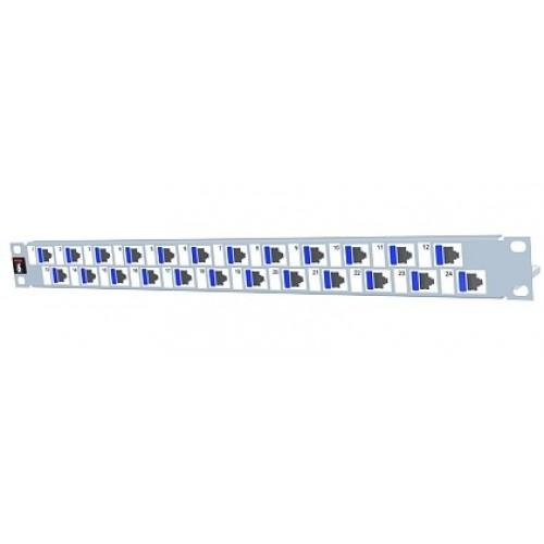 изображение Патч панель 24xRJ45 DG+, 568A/B, PowerCat 6, экранированная 1U, графит.цвета