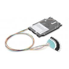 Комплект 12 кольрових пігтейлів LC/UPC MM (OM3) та сплайс-касета стандартна з тримачем 12 термоусад.гільз, Corning