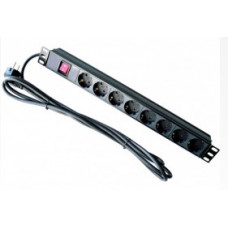 Блок на 8 розеток Schuco 220 В, 19'', с выключателем, кабель 1,8 м, с вилкой (корпус с алюминия)