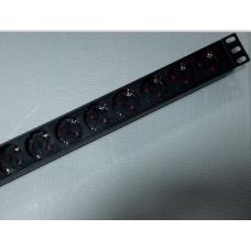 Блок на 9 розеток Schuco 220В 19'', кабель 1.8m с вилкой (корпус алюминий)
