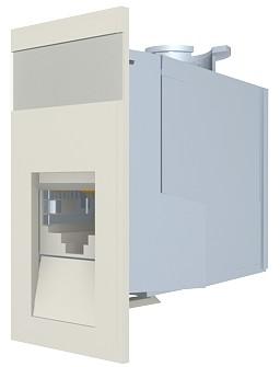 изображение Модуль Euromod 50 х 25, 1xRJ45, M1 прямой, STP 5е, 360DEG, PowerCat, белый