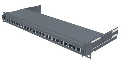 изображение Патч панель 24хRJ45, PowerCat 5e, экранированная выдвижная 1U, графит.цвета