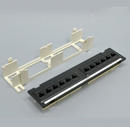 изображение Патч-Панель настенная 12xRJ45 UTP, категория 6, dual type, в пластиковом корпусе, чёрная, EPNew