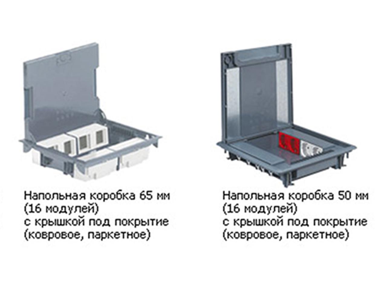 изображение Коробка напольная с крышкой для коврового/паркетного покрытия на 16 модулів с вертикальним розміщенням обладнання, глибиною 50-70мм, цвет Серый