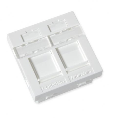 изображение Пластина для 2-х модулів FutureCom, зі шторками, 45Х45, пряма, біла, Corning