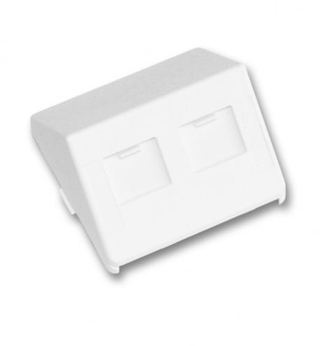 изображение Пластина на 2 модулі LANScape, похила, зі шторками, 50x50, біла RAL9010, UK style, Corning