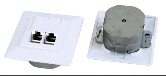 изображение Розетка внутренняя 80х80 2хпортовая неэкранированная UTP с 2х портовой RJ-45,FP2-C6-UTP-L2P-80
