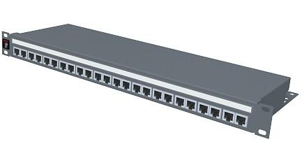 изображение Патч панель 24хRJ45, PowerCat 5e, экранированная 1U, графит.цвета