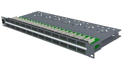 изображение Патч панель 48хRJ45, PowerCat 5e, неэкранированная 1U Графит. цвета