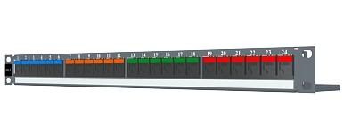 изображение Патч панель 24xRJ45 DG+, PowerCat 6, неэкранированная 1U, графит.цвета