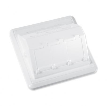 изображение Пластина на 3 модуля LANScape с рамкой, наклонная, выступ наружу, белая, RAL9010, Ge style, Corning